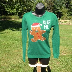 """Lightweight gingerbread """"ugly"""" Christmas sweater"""